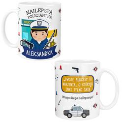 Kubek dla POLICJANTKI Personalizowany z Imieniem Dedykacją